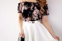Look with floral off the shoulder top and white skirt