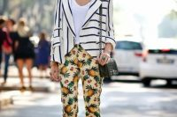 Look with fruit print trousers and striped jacket