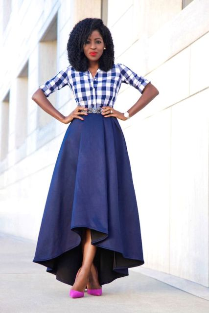 Look with waterfall skirt and plaid shirt