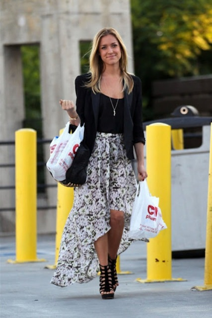 Look with jacket, floral assymetrical skirt and heels