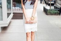 Look with lace pencil skirt and grey shirt