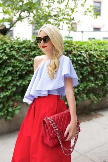 Look with one shoulder ruffle blouse