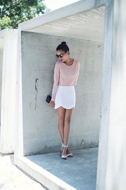 Look with pastel color shirt and white skirt