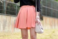 Look with peach skater skirt and black blouse
