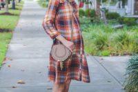Look with plaid drop waist dress, crossbody bag and flats