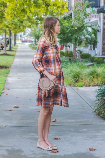 Look with plaid drop waist dress, crossbody bag and flats