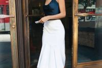 Look with silk top and white skirt
