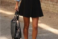 Look with skater skirt and denim shirt