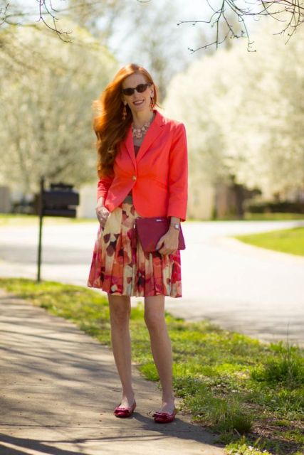 Look with watercolor skirt and jacket