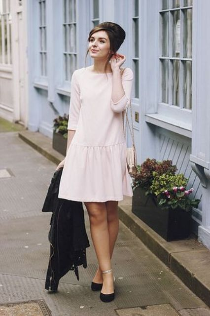 Look with white drop waist dress and black flats