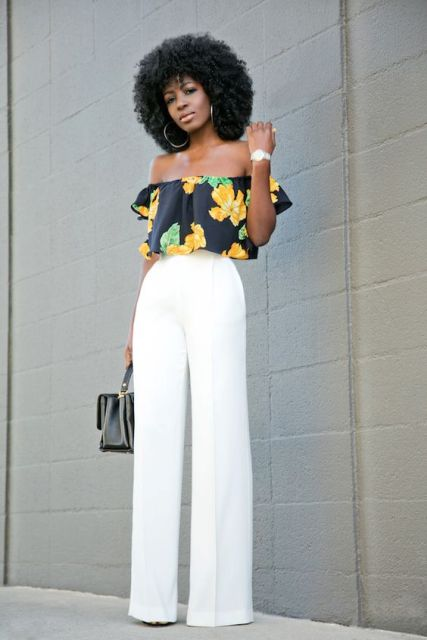 Look with white high waist pants and floral off the shoulder top