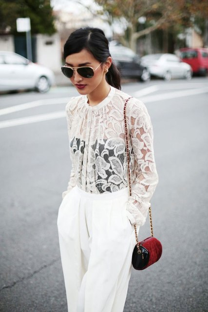 Look with white lace sheer shirt and black tank top