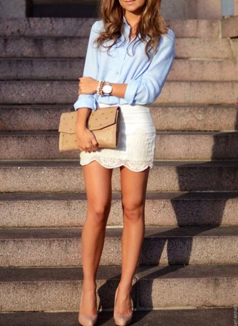 Look with white lace skirt and classic shirt