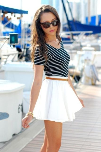 Look with white skater skirt and striped shirt