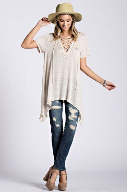 Loose lace up shirt and jeans