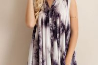 Loose tie dye dress with hat