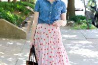 Midi polka dot skirt and denim shirt
