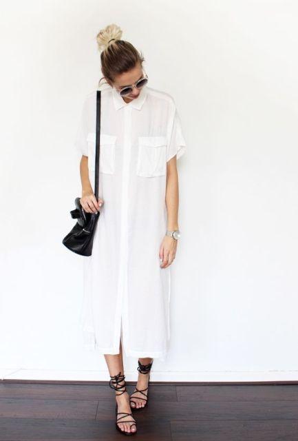 Midi shirtdress with lace up flats