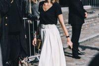Midi skirt with black shirt