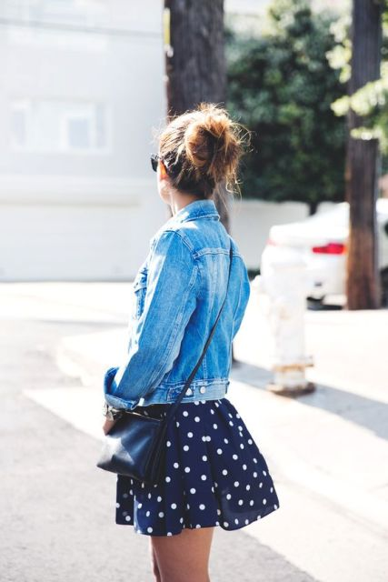 Mini polka dot skirt and denim jacket