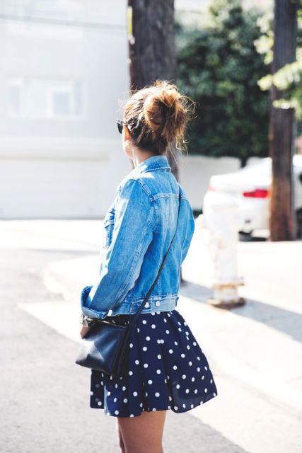 Mini polka dot skirt and denim jacket
