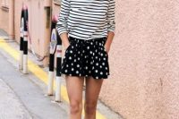 Mini polka dot skirt and striped shirt