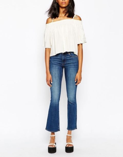 Off the shoulder top and cropped flared jeans