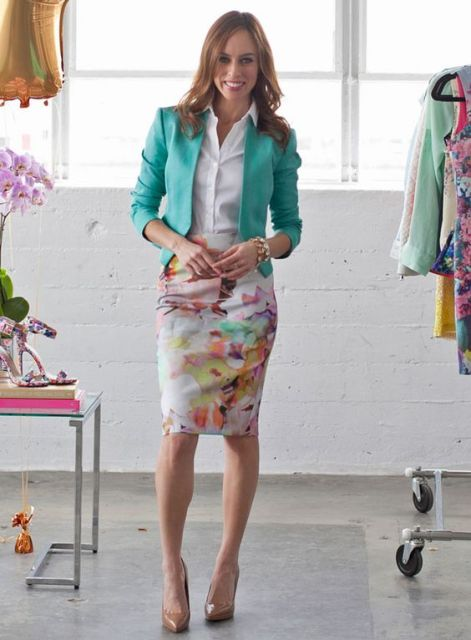 Office look with watercolor skirt