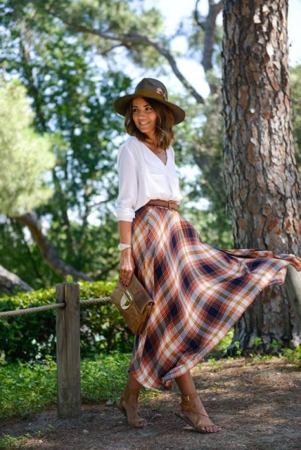 Outfit with checked maxi skirt and white shirt