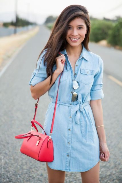 Outfit with denim shirtdress and colorful bag