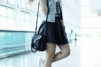 Outfit with denim vest, skater skirt and sneakers