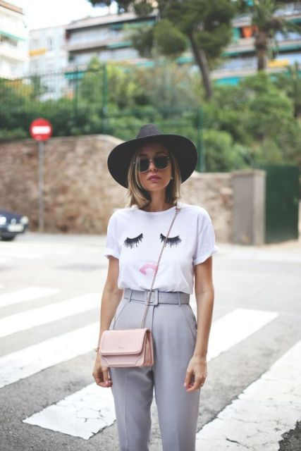 Outfit with funny shirt and belted high waist pants