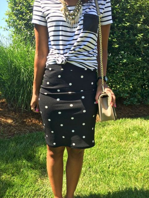 Outfit with polka dot skirt and striped shirt