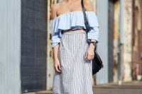 Outfit with ruffle top and striped skirt