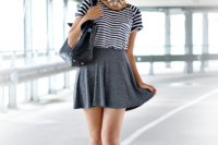 Outfit with skater skirt and loose shirt