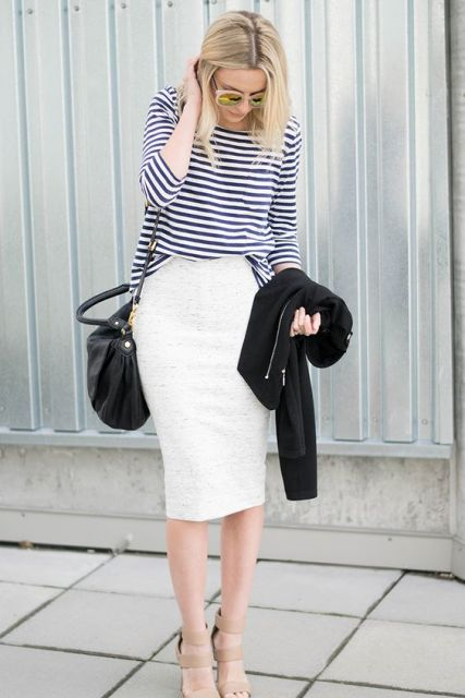 Outfit with striped shirt and white pencil skirt