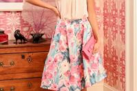 Outfit with watercolor A-line skirt