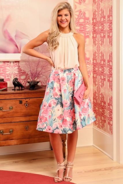 Outfit with watercolor A line skirt
