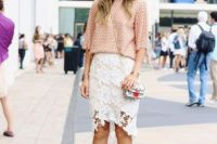 Outfit with white lace skirt and gentle pink shirt