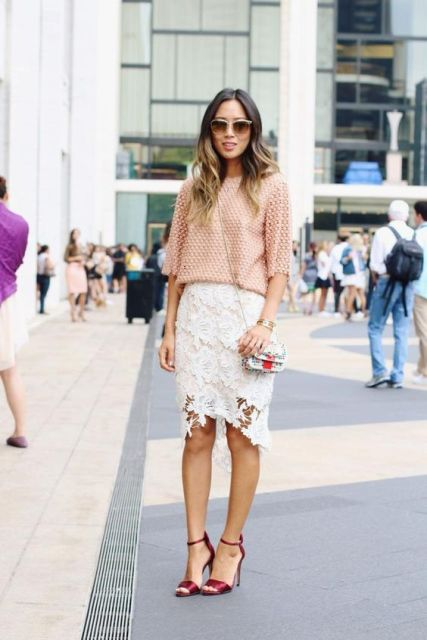 Picture Of Outfit with white lace skirt and gentle pink shirt