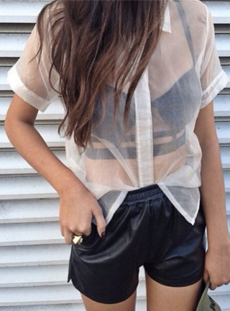 Outfit with white sheer shirt, black bra and shorts