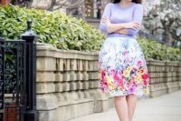 Pastel shirt with watercolor skirt and heels
