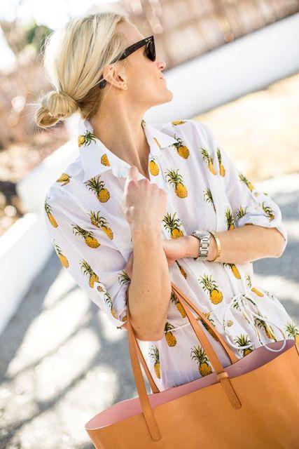 Pineapple print dress with belt