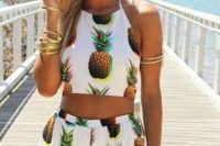 Pineapple print two piece set