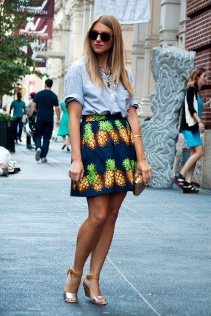 Pineapple skirt with blue shirt