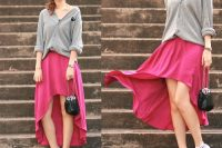 Pink high low skirt with grey shirt