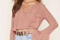 Pink lace up shirt with bell sleeves