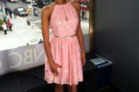 Pink polka dot halter dress