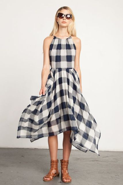Plaid halter dress with sandals and oversized sunglasses