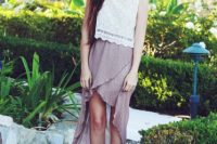 Pleated high low skirt and lace top